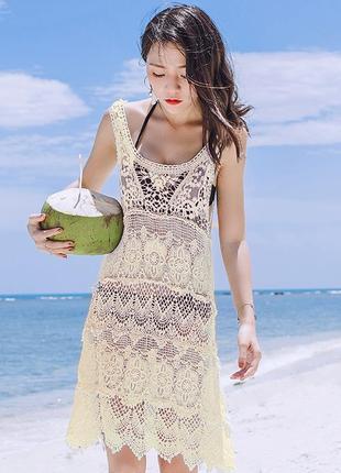 Ажурная туника пляжный сарафан платье
