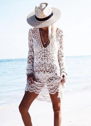 Ажурная туника с рукавом пляжный сарафан платье солнцезащитная...