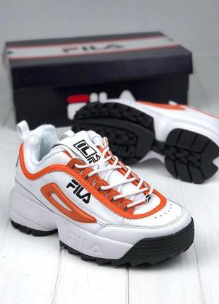 Топовые женские кроссовки fila disruptor ii orange black white...
