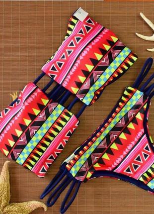 Купальник орнамент двусторонний бандо полоски