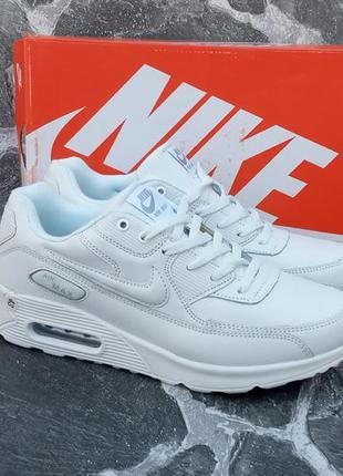 Мужские кроссовки nike air max 90 белые,кожаные,летние