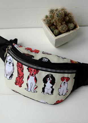 Сумка-бананка с собаками, барсетка, поясная сумка унисекс 54(1)