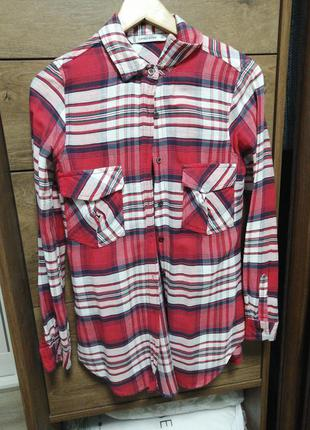 Лёгкая летняя клетчатая рубашка. рубашка в клетку 100% хлопок.