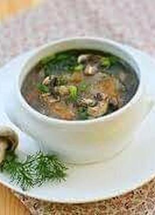 Грибной суп с мясом, зеленью и шампиньонами 3л