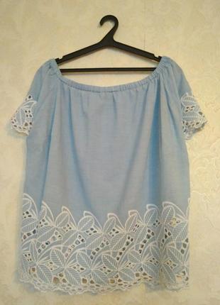 Шикарная натуральная блуза на плечи,размер 20, бренд f&f