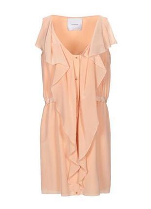 Шикарное абрикосовое платье-рубашка из натурального шелка доро...