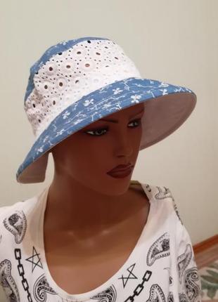 Панама лето на резиночке голубая цветочки 56-58