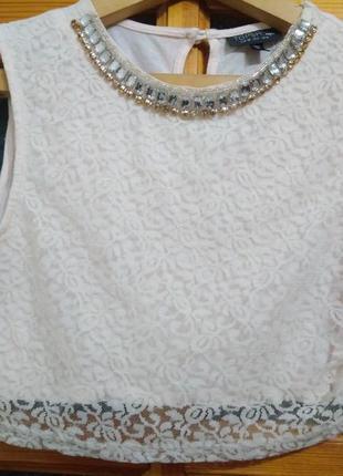 Кроп/топ/блуза нежно розового цвета  topshop