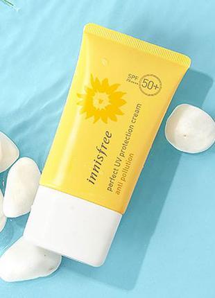 Водостойкий солнцезащитный крем innisfree anti pollution spf 50