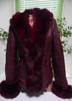 Кожанная женская куртка зима