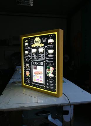 Меню для Кофейни. разработка дизайна изготовление лайтбокса