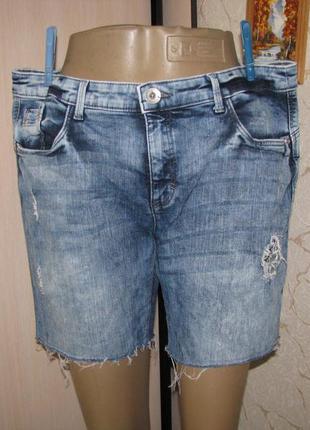 Шорты l размер 48 женские джинсовые рваные