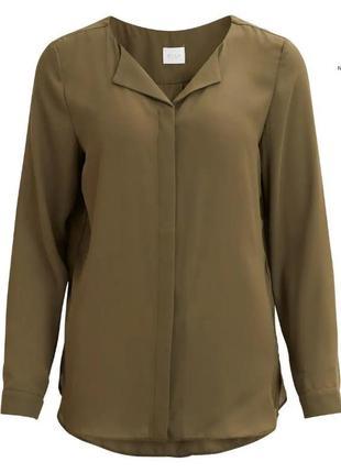 Очень красивая блуза рубашка удлиненная болотного хаки цвета б...