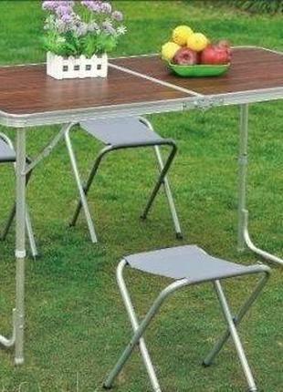 Стол раскладной туристический для пикника c 4 стульями 120х60 см