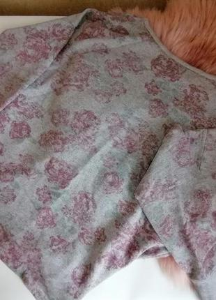 Кофта, реглан, свитшот серый с розами new look оверсайз (к020)