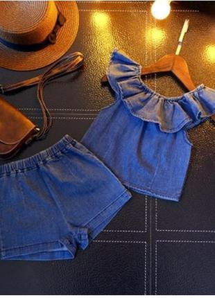 Модный летний джинсовый костюм комплект девочке
