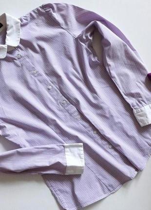 Полосатая рубашка в лиловом цвете