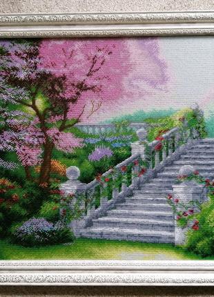 """Картина бісером """"Сходи у весняний сад"""""""