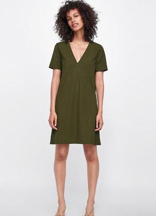 Платье zara цвета хаки