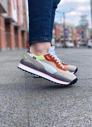 Мужские замшевые кроссовки puma ✰ бежевого цвета 😻