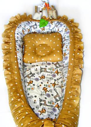 Кокон гнездышко для новорожденного мальчика девочки с подушкой...