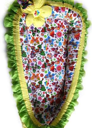 Кокон гнездышко для девочки с объемным мягким цветком и бабочк...
