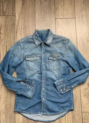 Рубашка джинсовая pepe jeans levis g star pull and bear bershka z