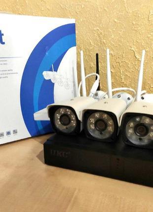 WiFi комплект, набор видеонаблюдения 4 камеры и регистратор