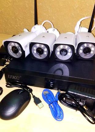 Комплект видеонаблюдения WiFi 4 камеры, регистратор
