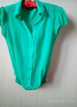 Шифоновая зеленая блузка