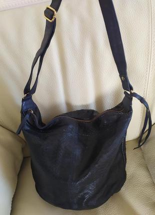 Кожаная сумка под рептилию dark blue