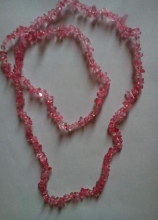 Длинные бусы из розового турмалина