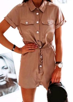 Женский летний комбинезон шорты на кнопках