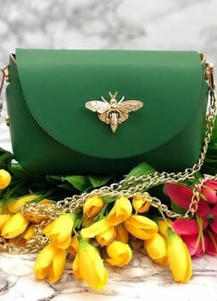 Зеленая кожаная сумка италия