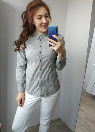 Рубашка женская серая в горох