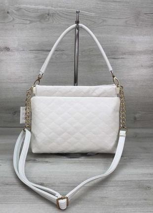 Женская белая сумка-клатч