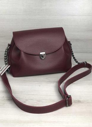 Женская молодежная сумка бордового цвета