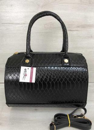 Женская сумка маленький саквояж черного цвета