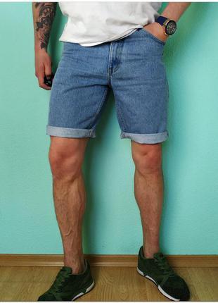 Мужские голубые джинсовые шорты blue store на молнии