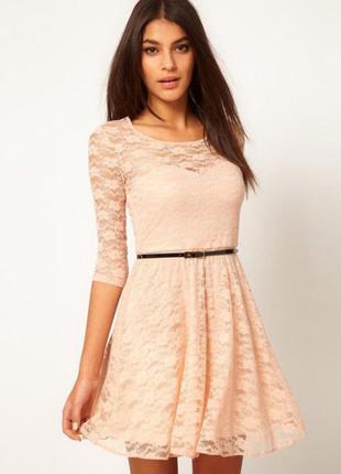 Платье персиковое бежевое кружевное 42 размер asos