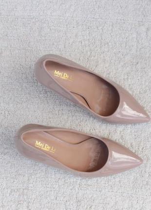 Пудровые, бежевые туфли, лодочки 36 размера на шпильке