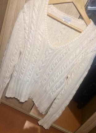 Кофта свитер белый новый косичка 100% хлопок размер s