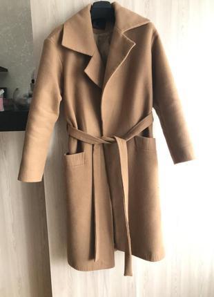 Кашемировое базовое пальто цвета кемел в стиле zara