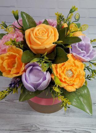 """Букет цветов из мыла """"Пионы Тюльпаны Роза"""""""