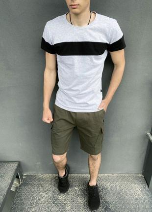 Комплект шорты хаки Miami футболка 'Color Stripe' светло- серая с
