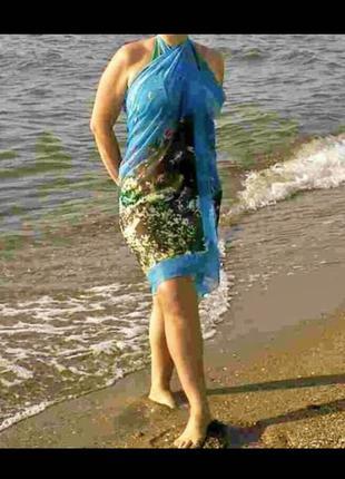 Пляжное парео с фото русунком.палантин.шарф.накидка.купальник.H&M