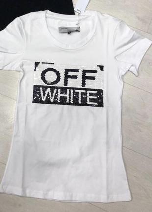 Новая женская футболка off white.