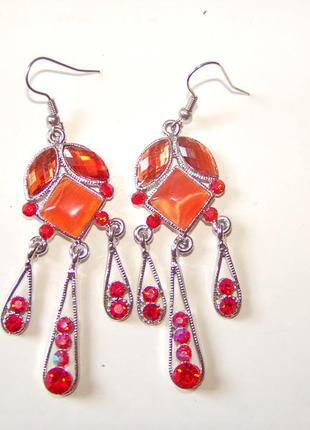Винтажные серьги-люстры с хрустальными кабошонами в цвете манг...