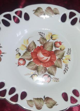 Большое ажурное блюдо для фруктов (Коростенський фарфор).