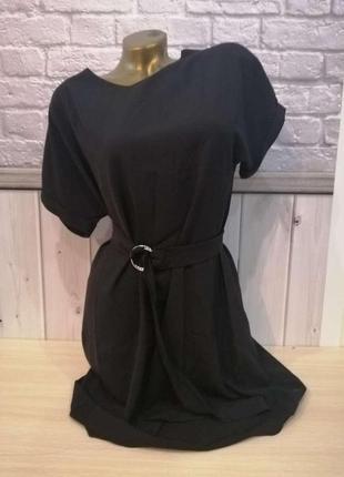 Женское укороченное платье свободного кроя